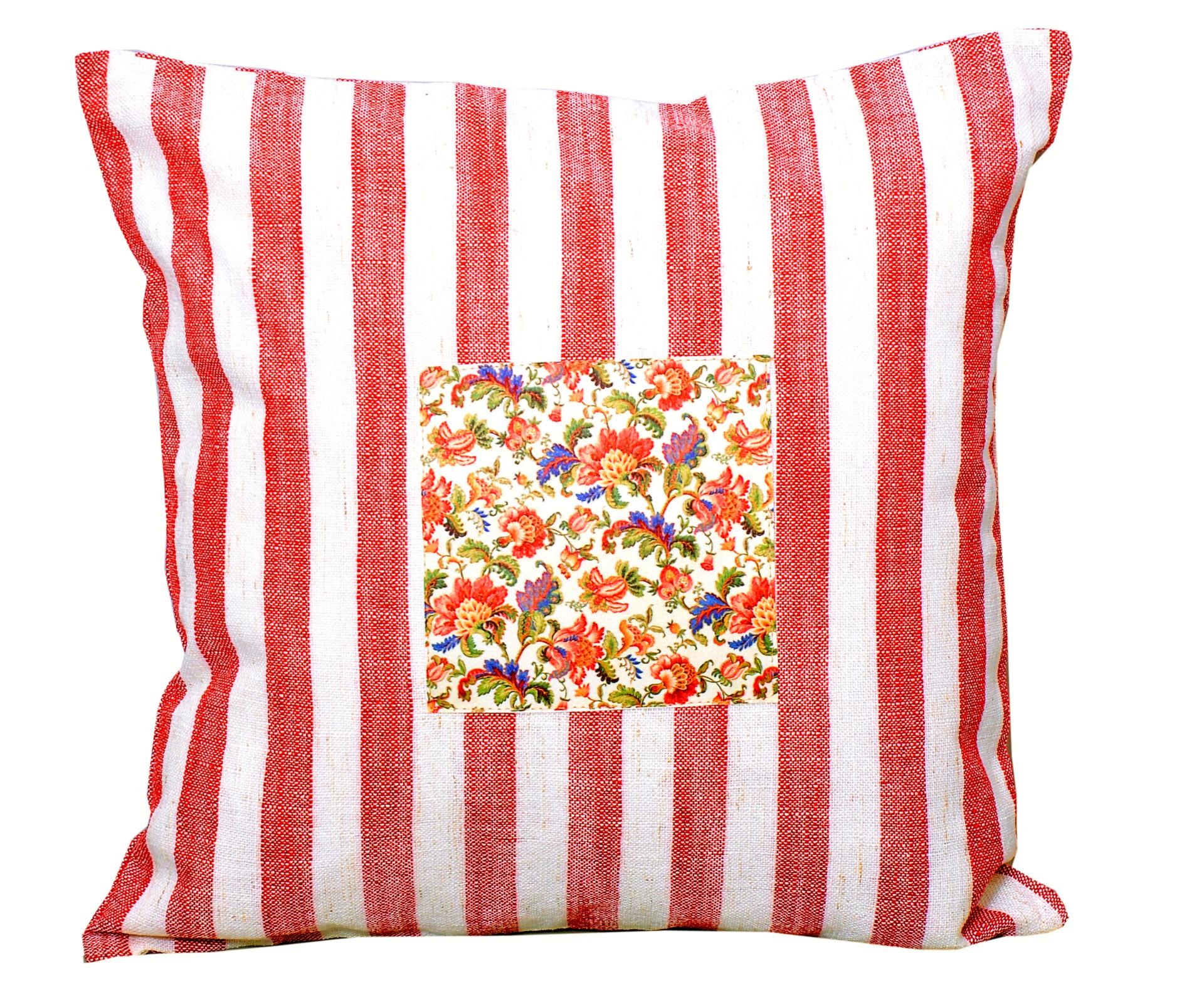 Strip Cushion Cover Red